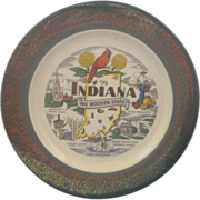 Indiana Souvenir Plate Homer Laughlin Green Rim 22KT Gold
