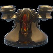 Mt Pleasant Black Amethyst Depression Glass Double Light Candle Holder