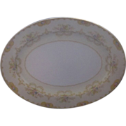 Noritake Morimura Japan 16 in Platter Yellow Rim Pink Blue Flowers