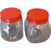 Red Metal Lid Clear Glass Small Jars Pair