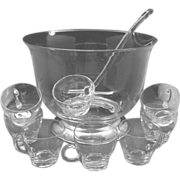 Blown Clear Glass Punch Bowl Cups Ladle Silver Foot