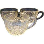 Long Hobstar Imperial Glass Clear Punch Cups Set of 3