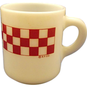 Ralston Purina Red Check Plaid Milk Glass Mug Hazel Atlas