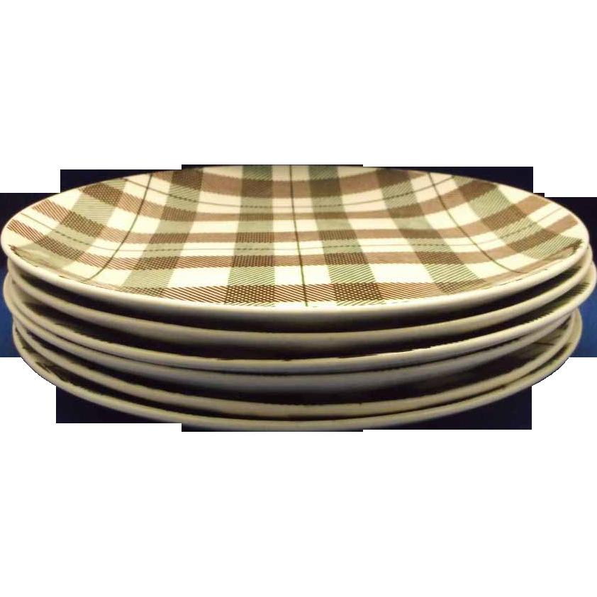 Highland Plaid Duraprint Green Brown Homer Laughlin Luncheon Plates