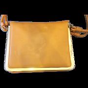 Markay Bags Pumpkin Orange Tan Structured Flat Purse