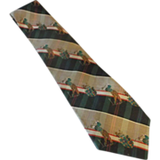 Brookville Collection Golf Themed Plaid Silk Tie