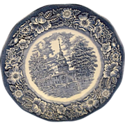 Liberty Blue Independence Hall Staffordshire Dinner Plates