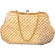Cream Raffia Japan Clutch Handbag