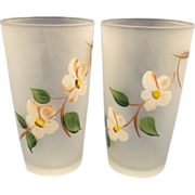 Gay Fad Hazel Atlas Peach Blossom Satin Tumblers