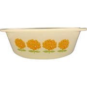 Glasbake Orange Flowers White Glass Round Casserole