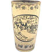 Currier & Ives Glass Tumbler White Blue Pattern