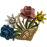 Crown Trifari Basket of Flowers Enamel Rhinestone Gold Tone Pin