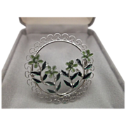 Beau Sterling Enamel Flowers Circle Pin Original Box