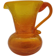 Amberina Crackle Glass Small Pitcher