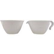 Corning White Creamer & Sugar Pyroceram Coupe Shape