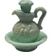 Avon Jade Green Slag Marble Glass Roses Pitcher Bowl