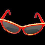 Red White Stripe Mirrored Sunglasses Taiwan 1980s