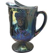 Indiana Glass Colony Blue Carnival Grape Harvest Pitcher