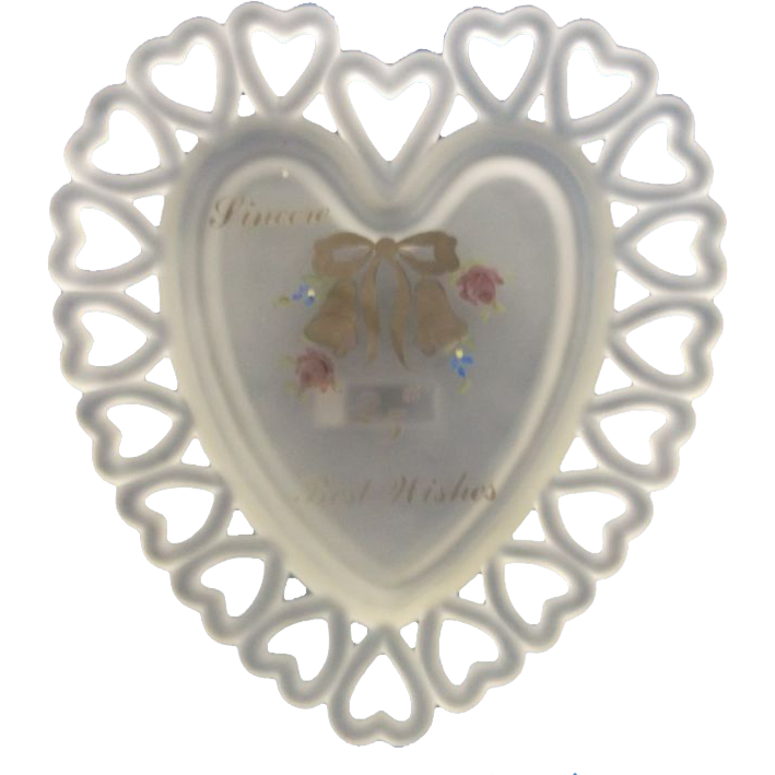 Westmoreland Frosted Satin 25th Anniversary Heart Lace Edge Plate