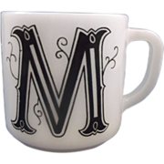 M Initial Monogram Milk Glass Mug Federal