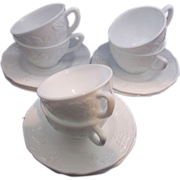 Indiana Glass Harvest Grape Milk Glass Cups & Saucers