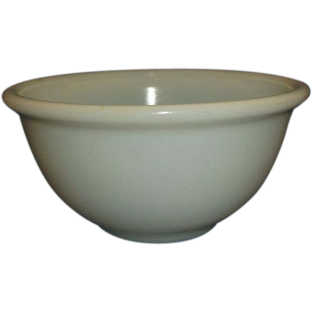 "Small Milk Glass Mixing Bowl 6"" Beaded Edge"