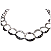 Trifari Black Enamel Silver Tone Chain Necklace