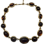 Amber Brown Glass Cab Necklace Gold Tone Choker
