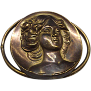 Art Nouveau Repousse Slide Buckle Woman Head