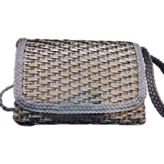 CEM Brazil Woven Leather Crossbody Purse Gold White