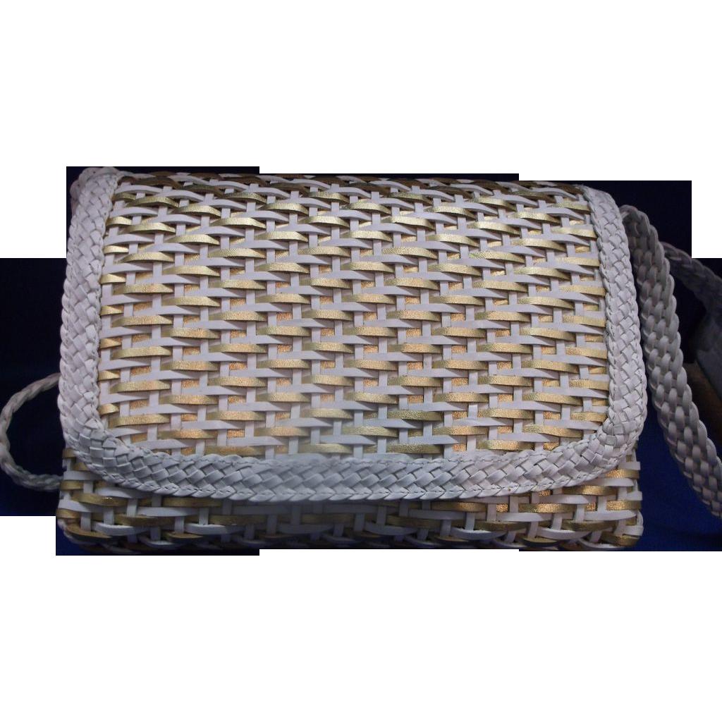 CEM Brazil Woven Leather Crossbody Purse Gold White