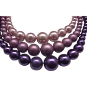 Pink Purple Lilac Lavender Triple Strand Faux Pearl Necklace