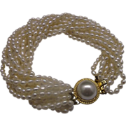 10 Strand Freshwater Pearl Bracelet Box Clasp