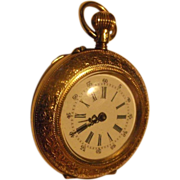 Victorian Ladies' 14K Gold Swiss Pendant Watch