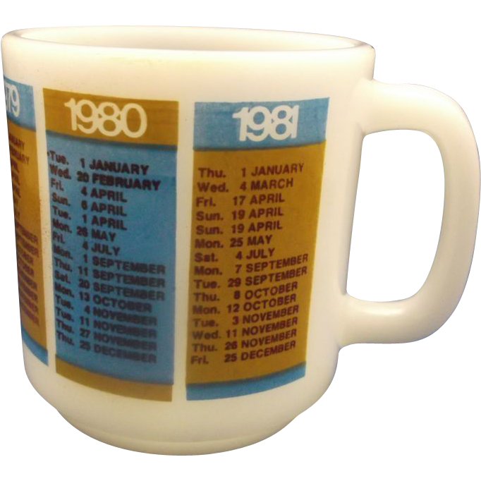 Glasbake Calendar Important Dates Mug 1977-1981