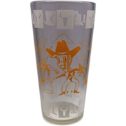 Hazel Atlas Cowboy Cowpoke Drinking Glass Tumbler Orange White