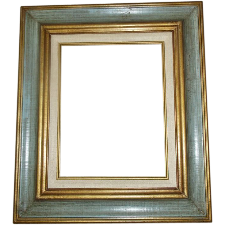 Gold Green Painted Wooden Frame 19 x 22 Made in Mexico