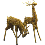 Brass Wire Reindeer Figurine Statues Christmas Decor