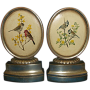 Borghese Bird Theme Oval Gilt Book Ends