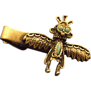 Thunderbird Tie Clip Silvertone Turquoise Native American Southwestern