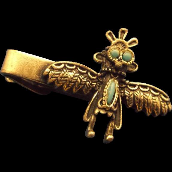 Thunderbird Tie Clip Silvertone Turquoise Native American Southwestern
