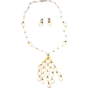 Trifari White Waterfall Apple Necklace & Earrings