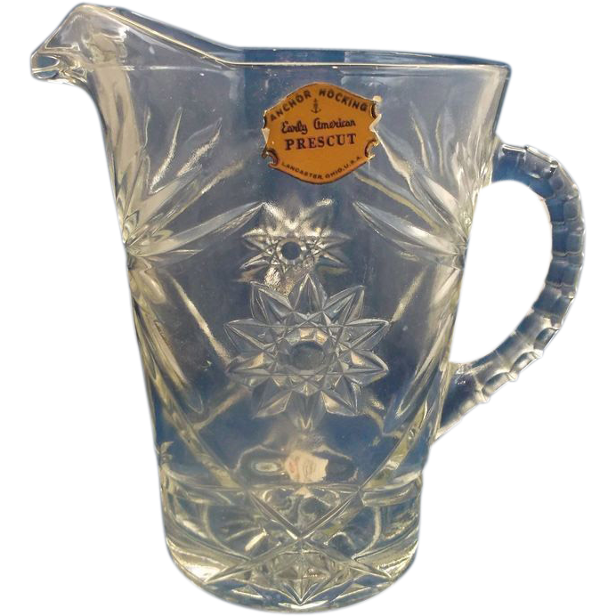 Early American Prescut Large Pitcher 54 Oz With Label