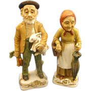 Farmer Couple Man Woman Figurines Porcelain Hand Painted House of David