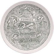 Florida Souvenir Plate Green Transferware Pre-Disney