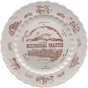 Historical Seattle Red Transferware Vernon Kilns Souvenir Plate