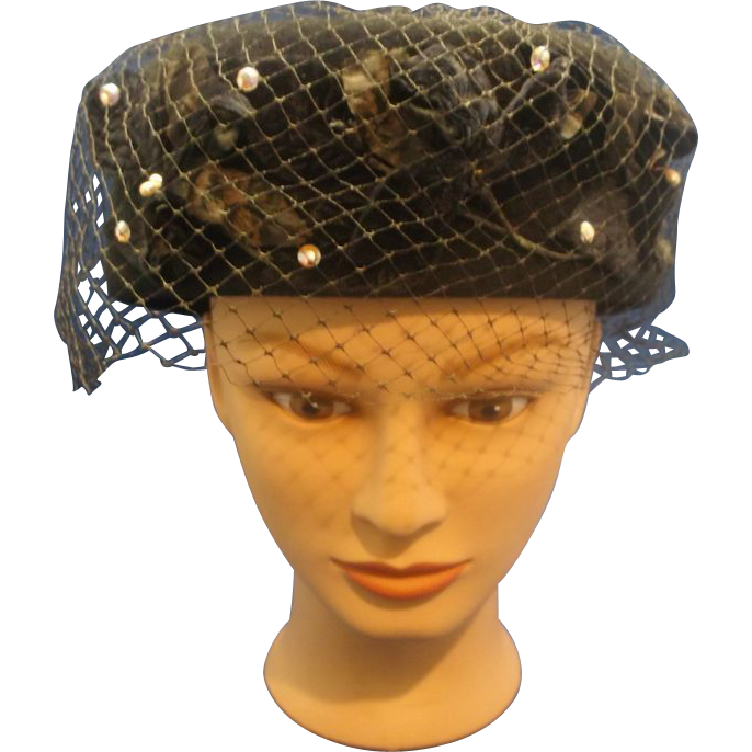 Glenover Henry Pollack Black Felted Pill Box Hat Short Veil