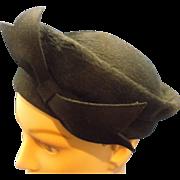 Brigitte Black Beaver Felted Beaver Pill Box Hat Front Bow