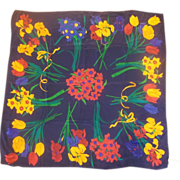 Liz Claiborne Jewel Toned Tropical Floral Silk Scarf