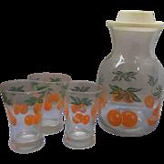 Federal Glass Orange Juice Carafe Tumblers Set